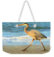Weekender Tote Bag featuring the painting Bird With A Purpose by Chris Armytage