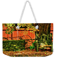 Weekender Tote Bag featuring the photograph Birdhouse Chair In Autumn by Jeff Folger
