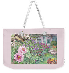 Weekender Tote Bag featuring the painting Birds And Bunnies In Cottage Garden by Judith Cheng