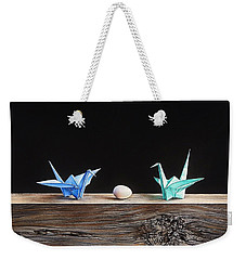 Weekender Tote Bag featuring the drawing Birds by Elena Kolotusha