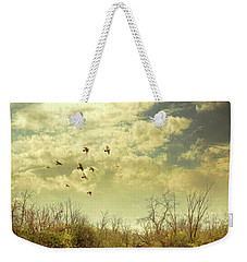 Birds Flying Over A River Weekender Tote Bag by Jill Battaglia