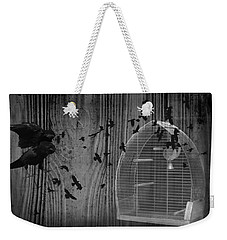 Birds Gone Wild In Black And White Weekender Tote Bag by Suzanne Powers
