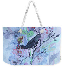 Weekender Tote Bag featuring the painting Birds Just Wanna Have Fun by Robin Maria Pedrero