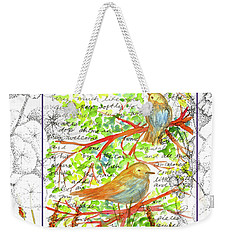 Weekender Tote Bag featuring the painting Bluebirds Nature Collage by Cathie Richardson
