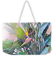 Weekender Tote Bag featuring the mixed media Birds Of Paradise  by Lucia Sirna