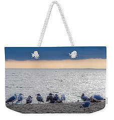 Weekender Tote Bag featuring the photograph Birds On A Beach by Kendall McKernon