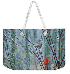 Birds On A Snowy Day Weekender Tote Bag
