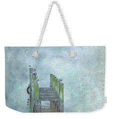 Weekender Tote Bag featuring the digital art Birds On Abandoned Dock by Randy Steele