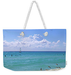 Weekender Tote Bag featuring the photograph Birds On The Beach M4 by Francesca Mackenney