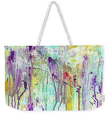 Birds On The Wire - Colorful Bright Modern Abstract Art Painting Weekender Tote Bag