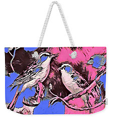 Weekender Tote Bag featuring the mixed media Birds Pink And Blue by Lita Kelley