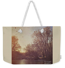 Weekender Tote Bag featuring the photograph Birds Take Flight Over Lake On A Winters Morning by Lyn Randle