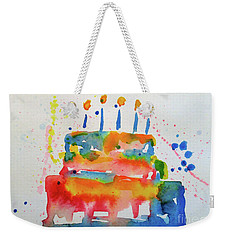 Weekender Tote Bag featuring the painting Birthday Blue Cake by Claire Bull