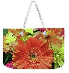 Weekender Tote Bag featuring the digital art Birthday Daisy Bouquet by Ellen Barron O'Reilly