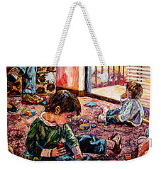 Weekender Tote Bag featuring the painting Birthday Party Or A Childs View by Kendall Kessler