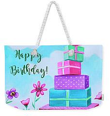 Birthday Presents In A Field Of Flowers Weekender Tote Bag