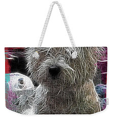 Weekender Tote Bag featuring the photograph Bishon Frise by EricaMaxine  Price