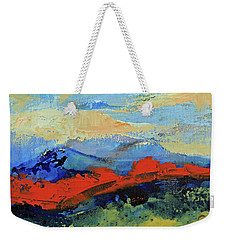 Weekender Tote Bag featuring the painting Bishop Mountains - Fall 2016 by Walter Fahmy