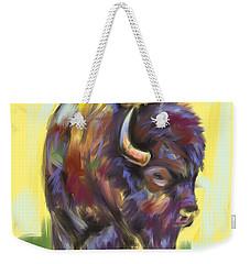 Weekender Tote Bag featuring the painting Bison And Bird by Go Van Kampen