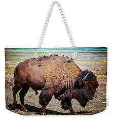 Bison And The Birds Weekender Tote Bag by Mary Hone