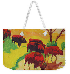 Bison Art Bison Crossing Stream Yellow Hill Painting Bertram Poole Weekender Tote Bag by Thomas Bertram POOLE