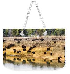 Bison At Indian Pond Weekender Tote Bag
