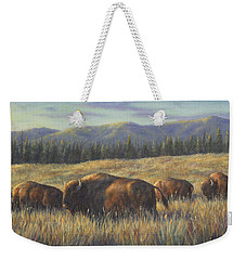 Weekender Tote Bag featuring the painting Bison Bliss by Kim Lockman