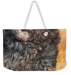 Weekender Tote Bag featuring the painting Bison by David Stribbling