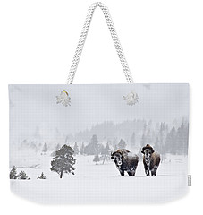 Bison In The Snow Weekender Tote Bag