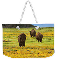 Bison In Wildflowers Weekender Tote Bag