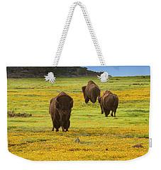 Bison In Wildflowers Weekender Tote Bag