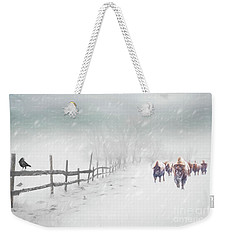 Bison In Winter Weekender Tote Bag