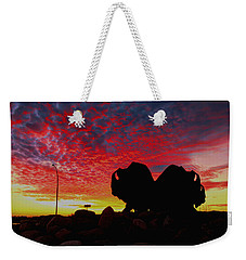 Bison Sunset Weekender Tote Bag by Larry Trupp