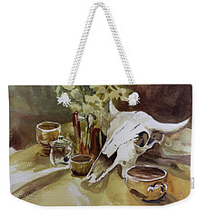 Bison With Bowls Weekender Tote Bag