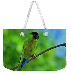 Weekender Tote Bag featuring the photograph Black And Blue by Tony Beck