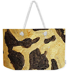 Weekender Tote Bag featuring the painting Black And Gold Mask by Shea Holliman