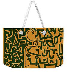 Weekender Tote Bag featuring the digital art Black And Orange Klee by Vagabond Folk Art - Virginia Vivier