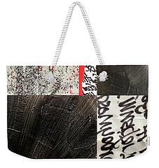 Weekender Tote Bag featuring the painting Black And Red 3 by Nancy Merkle