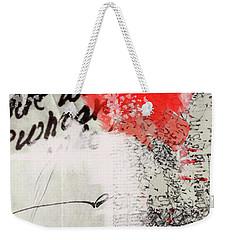 Weekender Tote Bag featuring the painting Black And Red 4 by Nancy Merkle