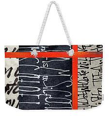 Weekender Tote Bag featuring the painting Black And Red 7 by Nancy Merkle
