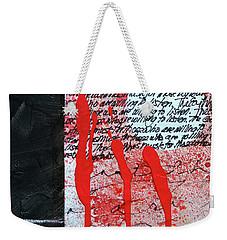 Weekender Tote Bag featuring the painting Black And Red 8 by Nancy Merkle