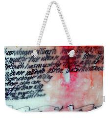 Weekender Tote Bag featuring the painting Black And Red Encaustic 1 by Nancy Merkle