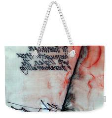 Weekender Tote Bag featuring the painting Black And Red Encaustic 2 by Nancy Merkle