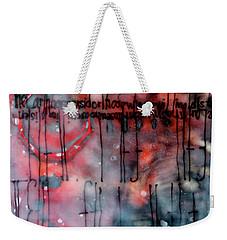 Weekender Tote Bag featuring the painting Black And Red Encaustic 4 by Nancy Merkle