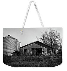 Weekender Tote Bag featuring the photograph Black And White Abandoned Barn by Maggy Marsh