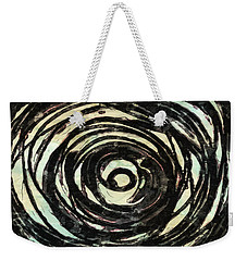 Weekender Tote Bag featuring the painting Black And White Abstract Curves by Joan Reese