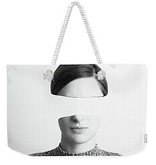 Black And White Abstract Woman Portrait Of Identity Theft Concept Weekender Tote Bag by Radu Bercan