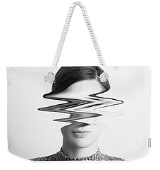 Black And White Abstract Woman Portrait Of Restlessness Concept Weekender Tote Bag by Radu Bercan