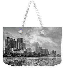 Black And White Austin Skyline On A Foggy Morning 1 Weekender Tote Bag