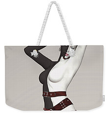 Black And White Belted Weekender Tote Bag